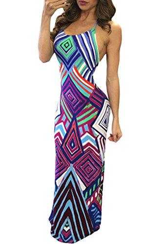 Damen Lila Geometrische Muster bunt Kreuz und Quer Zurück Halfter Maxi Kleid Größe S UK 8