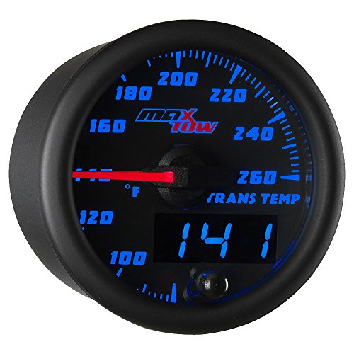 MaxTow Double Vision 260 F Transmission Temperature Gauge Kit - Includes Electronic Sensor - Black Gauge Face - Blue LED Illuminated Dial - Analog & Digital Readouts - for Trucks - 2-1/16