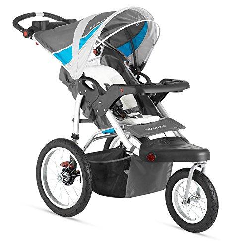 Premium Baby Stroller Jogger With Built-In MP3 Speaker And Adjustible Handlebar, Large Canopy and Storage Basket For Infants, Toddlers And Kids, Grey-Blue (Triple Jogging Stroller)