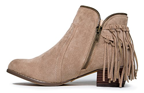 J Ankle Cowboy Suede Adams Heel Nude Toe Low Bootie Closed Bailey Zipper Western Boot Fringe by rqvrwaZI
