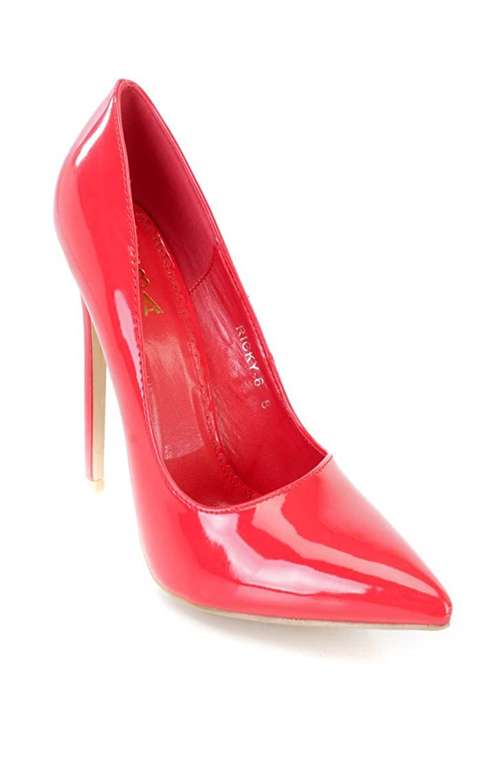 528d087b97 Amazon.com | Alba Ricky-6 Red Single Sole Pump High Heels Patent | Pumps