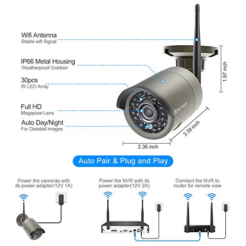 Techage Wireless Security Camera System, 4CH 1080P HD WiFi Wireless Surveillance Camera System,4 Weatherproof IP Cameras Auto Pair WiFi H.265 NVR,Motion Alerts,Remote View(1TB Hard Drive)