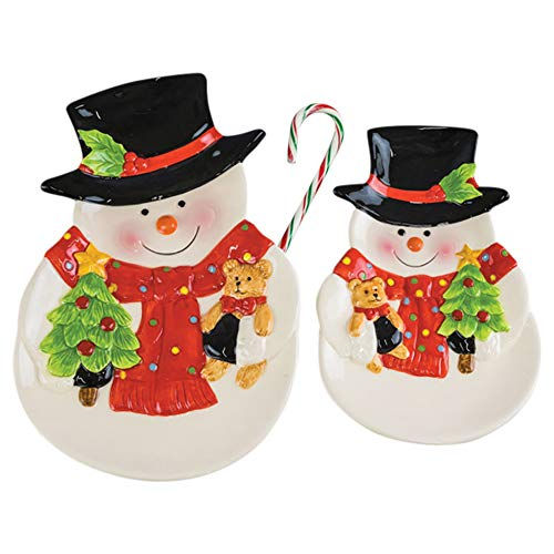 Hanna's Handiworks Holly Bear Snowmen Ceramic Serving Plates Assorted Set of 2 ()