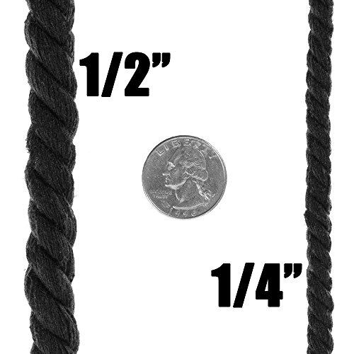 Twisted 3 Strand Natural Cotton Rope 40 and 100 Foot Kits in 1/4 Inch and 1/2 Inch – Soft Knot Tying Artisan Cord Decorative Crafting – Assorted Colors by West Coast Paracord (Image #6)