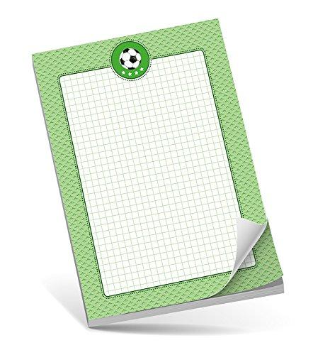 Schreibblock A5 FUßBALL GRÜN • 50 Blatt kariert DIN A5 (148,5x210 mm) Notizblock / Block / für Schulkinder / für Schlaufüchse / Malblock