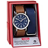 Timex Men's TWG015000 Weekender 40 Brown Leather Slip-Thru Strap Watch Gift Set + Blue Nylon Strap