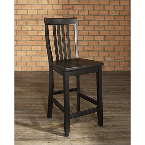 Crosley Furniture CF500324-BK Schoolhouse Bar Stool (Set of 2), 24-inch, Black