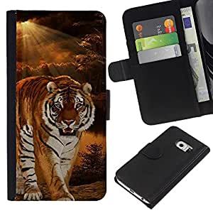 KingStore / Leather Etui en cuir / Samsung Galaxy S6 EDGE / Tiger Noche Sunset desierto de Sun Ray