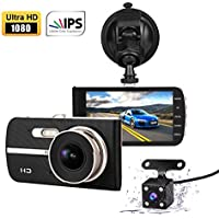 Apleye Super HD 1920x1080p 4.0 IPS Screen 170° Wide Angle dash cam Car Dashboard Camera Video Recorder with Parking Mode, Super Night Vision, Motion Detection, G-Sensor, Loop Recording, HDR