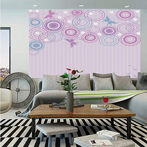 Butterfly Huge Photo Wall Mural,Abstract Soft Color Background with Lovely Summer Season Animals and Circles,Self-Adhesive Large Wallpaper for Home Decor 108x152 inches,Lilac Blue Pink