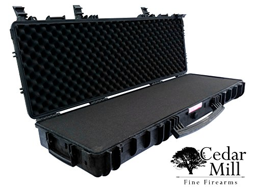 Tactical Double Rifle Case Waterproof & Airtight with DS3TeK Shell, Pick and Pluck cubed foam All Weather Medium Large Locking TSA Airline Airplane Travel wheels carry handle AR-15 Colt M4 Like 1720 by Cedar Mill Firearms