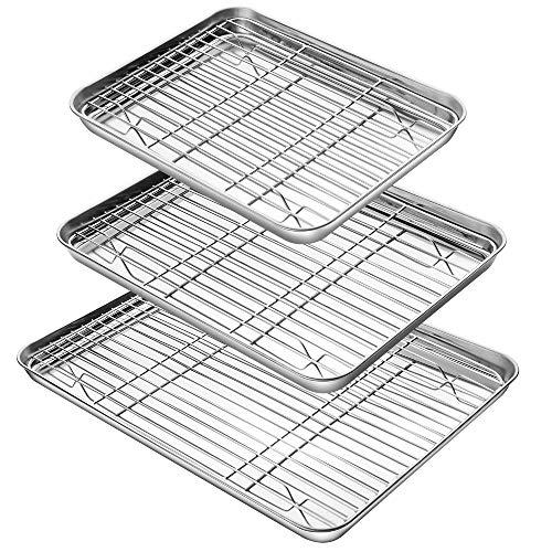 YIHONG Baking Sheet with Rack Set (3 Sheets+3 Racks), 3 Size Cookie Sheets for Baking Use, Stainless Steel Baking Pans…