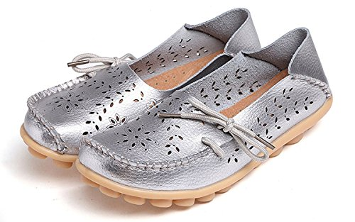 Eagsouni Women's Leather Moccasins Lace-up Casual Loafer Boat Shoes Driving Shoes #3silver 2E9RP