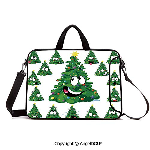 - AngelDOU Notebook Bag for School Laptop Sleeve Messenger Bags Christmas Tree Cartoon with Star and Different Funny Face Expressions Decorative PC Cover case Compatible with mac pro/asus/acer/hp/xia