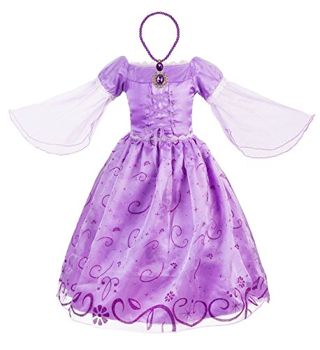 b3c4d5f15 Okidokiyo Little Girls Princess Rapunzel Costume Mesh Sleeve Party Dress