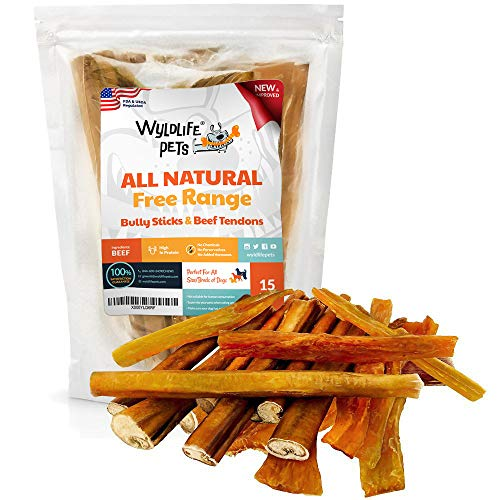 WyldLife Pets Thick Bully Sticks for Dogs -1 Pack of 8 Bully Stick & 7 Beef Tendons for Dogs Long Lasting Dog Chew Sticks for Dogs USDA & FDA Approved Dog Bully Sticks for Small Dogs & Large Dogs