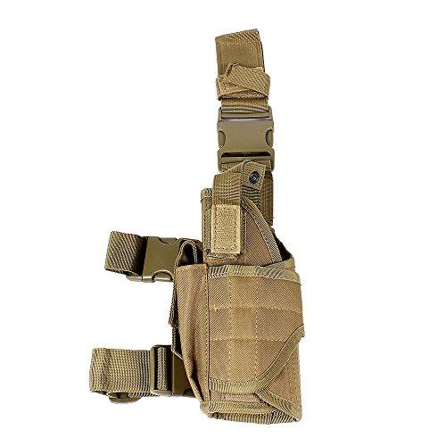 Tactical Universal Pistol Hand Gun Drop Leg Holster w/ Mag Pouch Left Handed, Tan