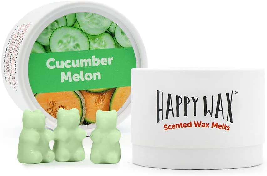 Happy Wax Cucumber Melon Scented Soy Wax Melts - Bear Shapes Perfect for Mixing Melts in Your Wax Warmer