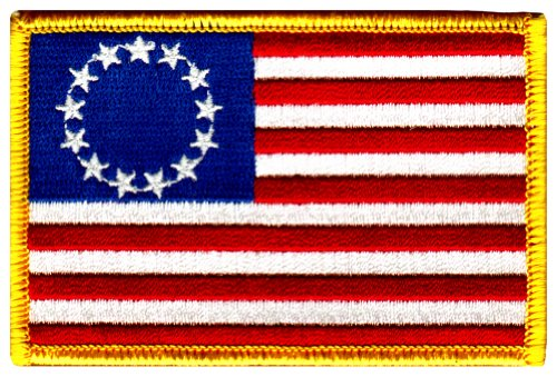[American Flag Embroidered Patch Betsy Ross 13-Stars Iron-On USA United States] (Betsy Ross Hat)