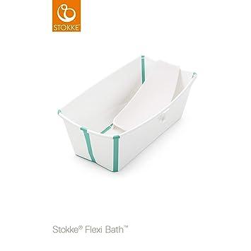 STOKKE ® Bañera Plegable Flexi Bath CON SOPORTE para recién nacido blanco/aqua: Amazon.es: Bebé