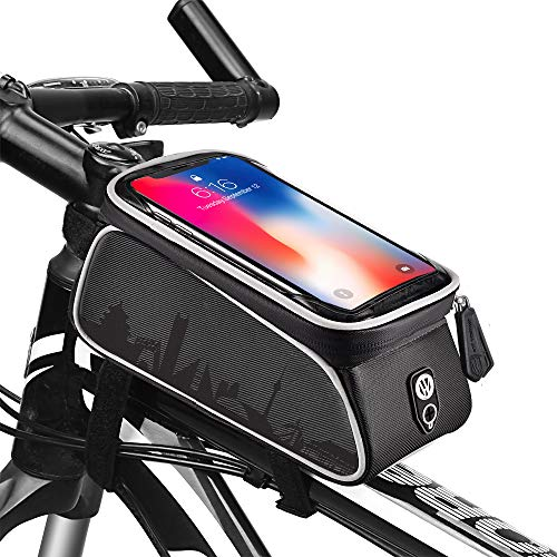uniwood Bike Front Frame Bags Waterproof, Bicycle Handlebar Bag, Top Tube Mount Handlebar Bags, Bike Screen Phone Holder Case Sports Bicycle Bike Storage Bag Cycling Pack Fits Phones Below 6.0 Inches