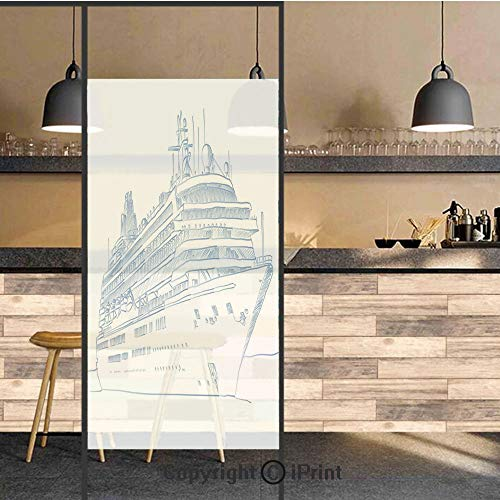 3D Decorative Privacy Window Films,Hand Drawn Sketch Style Cruise Liner Ship Design Ocean Travel Transportation Holiday Decorative,No-Glue Self Static Cling Glass film for Home Bedroom Bathroom Kitche