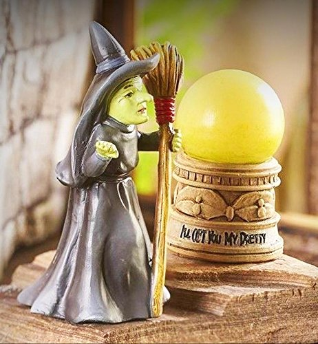 (Oz Wicked Witch w LED Lighted Crystal Ball GI 711323 Miniature Fairy Garden - My Mini Fairy Garden Dollhouse Accessories for Outdoor or House Decor)
