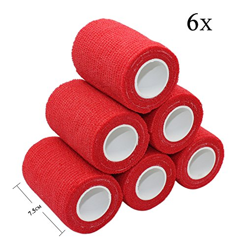 Red Self Adhesive - STpro 3 Inches x 5 Yards 6 Pack Self-Adhesive Bandage Vet Wrap Bandage Self Adherent Cohesive Bandage Vet Tape,Red