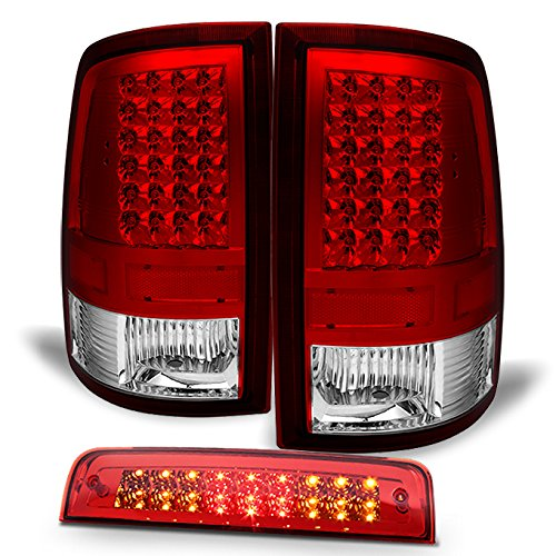 For 09-18 Dodge Ram 1500 | 2010-2018 Ram 2500 3500 LED Red Clear Taillights Pair + LED 3Rd Brake (2012 Clear Led)