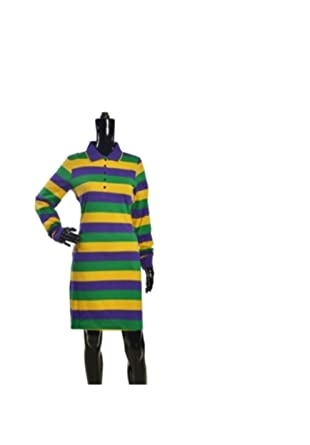 c534400d3f4 Image Unavailable. Image not available for. Color: Boolala Mardi Gras Long  Sleeve Rugby/Polo Shirt Dress ...