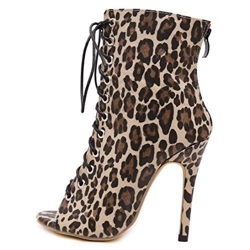 Mujer Alto Zapatos Elegantes Leopardo Tacon Sexy Botas Vestir Botines Annieshoe 418TTw