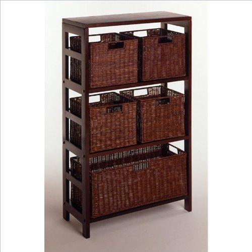 Winsome Leo Wood Rattan Home Accent 6 Piece Display Shelf Stand Rack With Storage Baskets Espresso