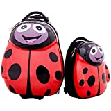 Goplus 2Pc 13' 19' Kids Carry On Luggage Set Travel Trolley Suitcase (Ladybug)