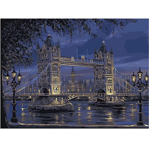 Bridge Linen - Paint by number Kit for Adults Beginner Landscape DIY Oil Painting on Linen Canvas with Brush Paints Pigment No Blending No Mixing fantastic Pictures Painting London Tower Bridge 16x20 Inch Frameless