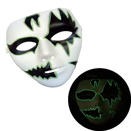 Máscaras de Terror, Zolimx Máscara Luminosa Disfraces Halloween Fiesta Máscara Horror Esqueleto Cráneo Máscara Facial
