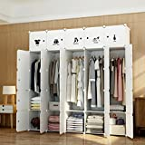 MAGINELS Portable Closet Clothes Wardrobe Bedroom Armoire Storage Organizer with Doors, White, 10 Cubes & 5 Hanging Sections