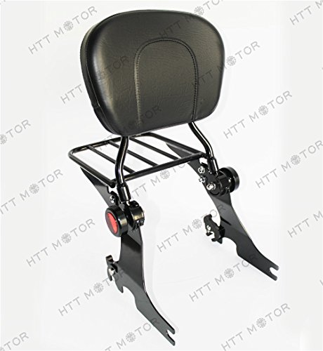 HTTMT ASBB09- Adjustable Detachable Sissy Bar Compatible with 04 - UP Harley Sportster Backrest with Rack