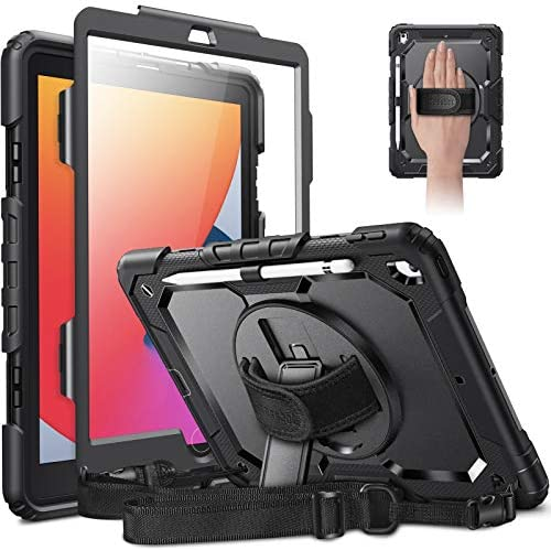 CaseBot Case for iPad 8th Generation 2020 / 7th Gen 2019 10.2 with Screen Protector, [360° Rotating Kickstand] Rugged Heavy Duty Hybrid Shockproof Cover with Hand Shoulder Strap, Pencil Holder, Black