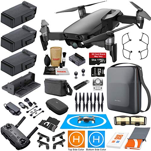 DJI Mavic Air Fly More Combo (Onyx Black) Touring Bundle with 3 Batteries, 4K Camera Gimbal, PGYTECH Carrying Case and Must Have Accessories