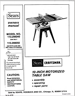 craftsman 10 inch table saw owners manual
