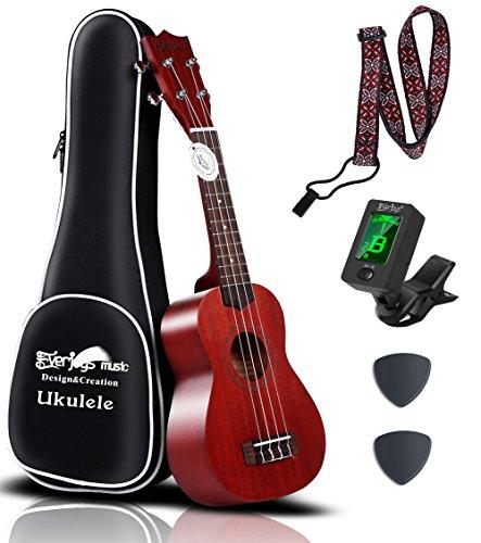 Mahogany Soprano Ukulele Starter Kit - Professional 21 inch w/ Case Strap Tuner Aquila Strings