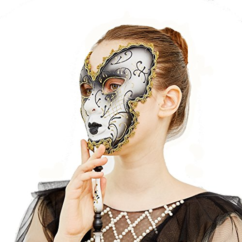 YUFENG Venice Mens Masquerade Ball Stick Mask Mardi Gras Birthday Christmas Dance Prom Party for $<!--$9.99-->