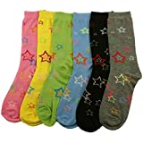 Ladies 6 Pairs Cotton Cookie Cutter Stars Colorful Crew Dress Casual Socks Set