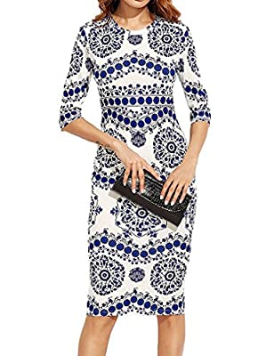 Locryz Womens Procelain Print Pencil Dress