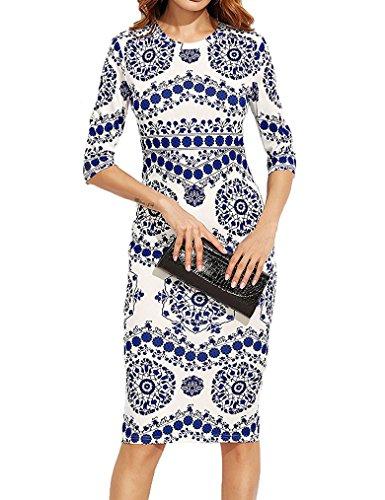 Print 3/4 Sleeve Dress - 4