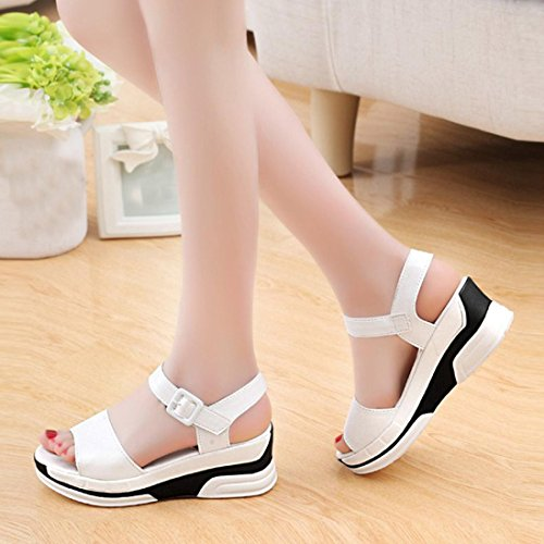 DIGOOD Sandals for Women,Ladies Teen Girls Open Platform Toe Chunky Sole Wedge Sandal Shoes White