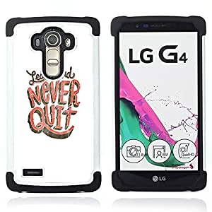 GIFT CHOICE / Defensor Cubierta de protección completa Flexible TPU Silicona + Duro PC Estuche protector Cáscara Funda Caso / Combo Case for LG G4 // Never Quit Learn Study White Pink //