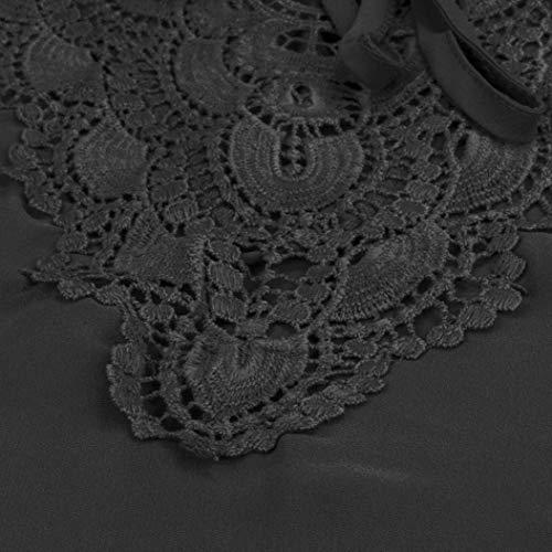 Mince V Basic Shirt Shirts Top Vetement Dentelle Bandage Mode Cou Courtes Irrgulier Confortable Casual Chemise pissure Manches lgant Schwarz Femme Et Blusen W87HUnU