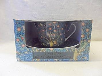 Taza y platillo de regalo de William Morris con diseño de pecera de madera: Amazon.es: Hogar
