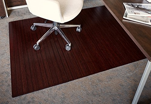 Anji Mountain AMB24002 Bamboo Roll-Up Chair Mat Without Lip, Dark Cherry, 48 x 72, 5mm Thick